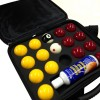 "Super Pro Cup 2"" Reds & Yellows Pool Balls With Ball Cleaner and Case"
